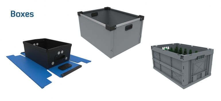 Plastic boxes, Foldable crate, Packaging
