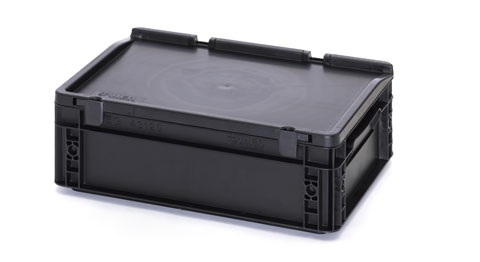 Esd Euro Containers With Hinged Lid Esd Containers And