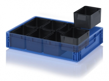 ESD insertable bins for euro container